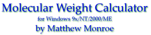Introducing the Molecular Weight Calculator for Windows